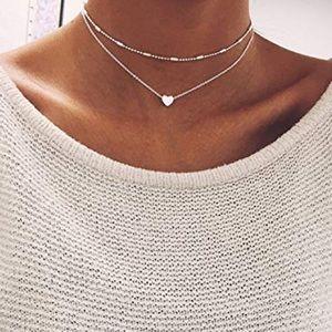 ♡ Emma ♡ Heart Layered Necklace Choker